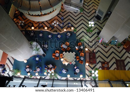 .caffee break at luxury hotel from birds view perspective - stock photo