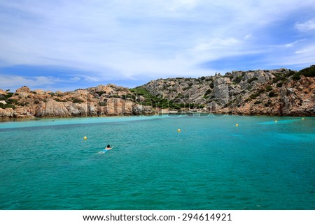 Cala Corsara cove at Maddalena Archipelago in Sardinia - stock photo