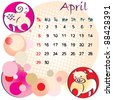 2012 calendar april with zodiac signs and United States Holidays - stock vector