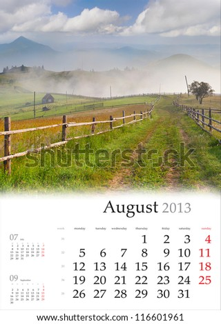 2013 Calendar. August. Beautiful summer landscape in the mountain village. - stock photo