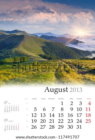 2013 Calendar. August. Beautiful summer landscape in the mountains