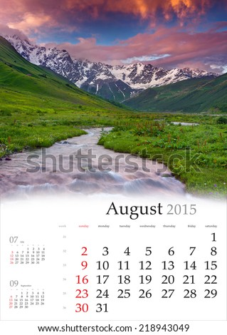 2015 Calendar. August. Beautiful summer landscape in the mountains - stock photo