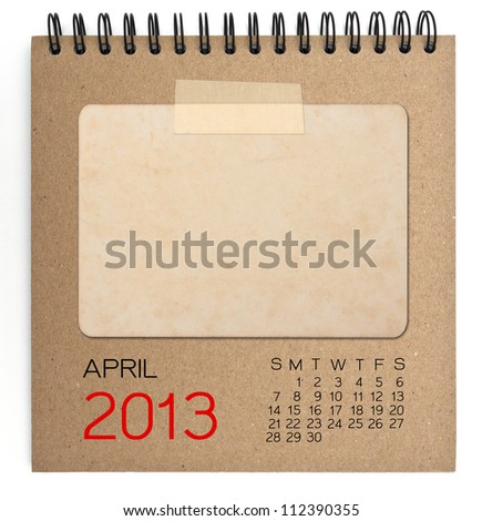 2013 Calendar brown notebook with old blank photo - stock photo