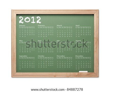 2012 Calendar Chalkboard with All Twelve Months on a White Background. - stock photo