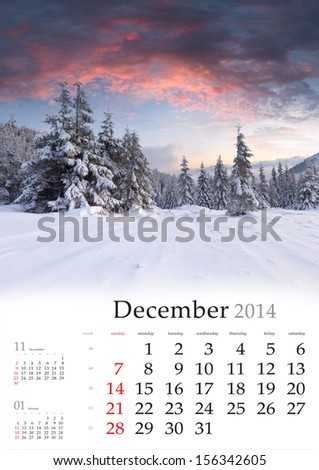 2014 Calendar. December. Beautiful winter landscape in the mountains.
