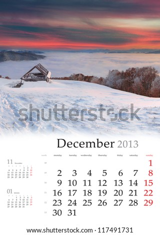 2013 Calendar. December. Beautiful winter landscape in the mountains. Sunrise - stock photo
