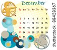 2012 calendar december with zodiac signs and united states holidays - stock photo