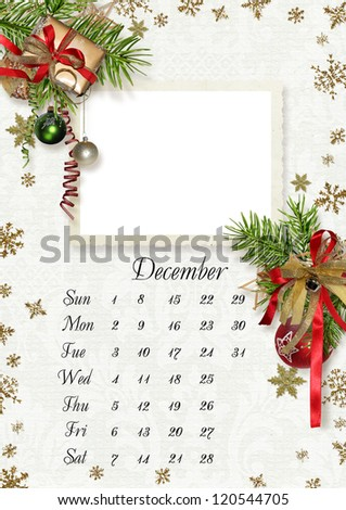 2013 calendar design-december. With frame for photo. - stock photo