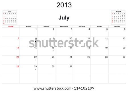 2013 calendar designed by computer using design software, with white background - stock photo