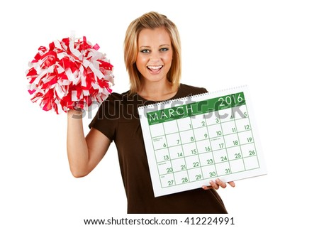 2016 Calendar: Excited For Spring March Sports - stock photo