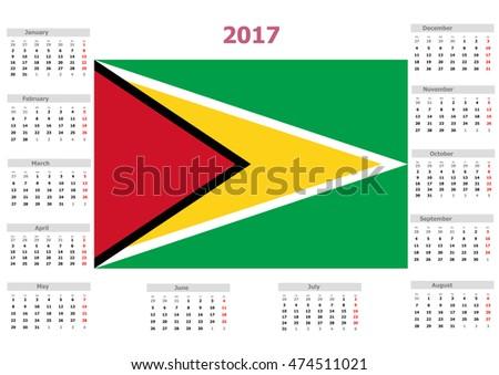 2017 Calendar - Guyana Country
