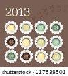 2013 calendar in flower form. - stock vector