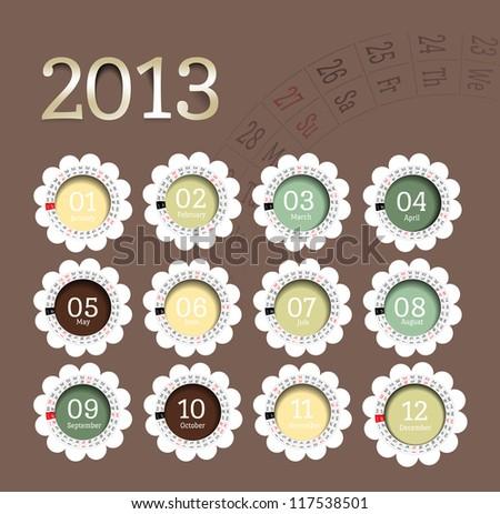 2013 calendar in flower form. - stock photo