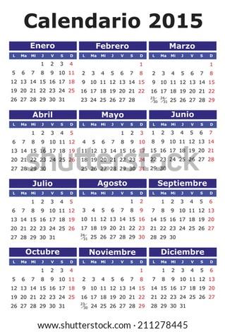 2015 calendar in Spanish. Calendario 2015 - stock photo