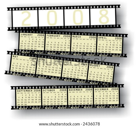 2008 Calendar into photographic film strips - stock photo