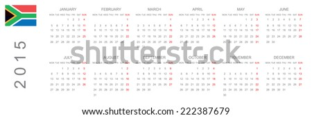 2015 Calendar isolated on white background - stock photo