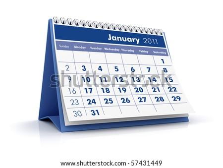 2011 Calendar. January - stock photo