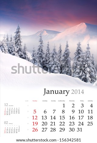 2014 Calendar. January. Beautiful winter landscape in the mountains. - stock photo