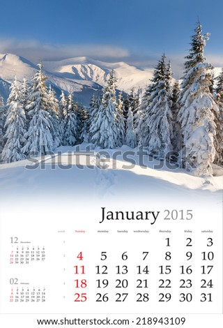 2015 Calendar. January. Beautiful winter landscape in the mountains. - stock photo
