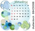 2012 calendar january with zodiac signs and united states holidays - stock photo