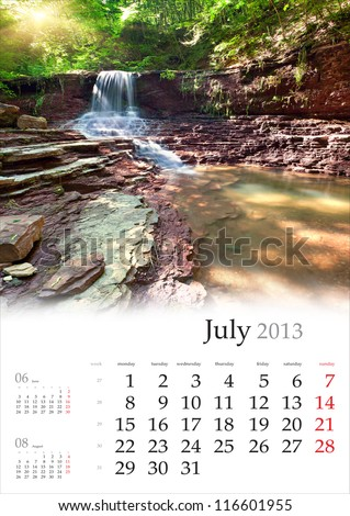 2013 Calendar. July. Beautiful summer landscape in the forest with waterfall. - stock photo
