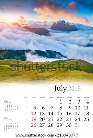 2015 Calendar. July. Beautiful summer landscape in the mountains. - stock photo