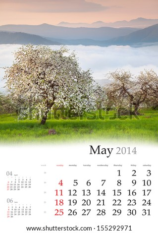 2014 Calendar. May. Blooming apple trees in the mountains in spring - stock photo