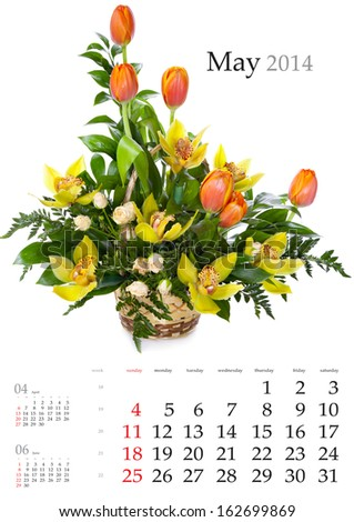 2014 Calendar. May. Bright flower bouquet on white background