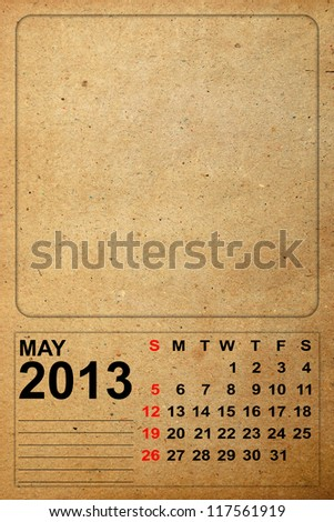 2013 Calendar, May on empty old paper