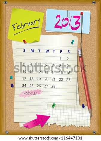 2013 calendar - month February - cork board with notes - stock photo