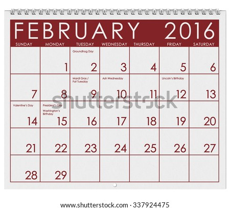 2016 Calendar: Month Of February With Valentine's Day - stock photo