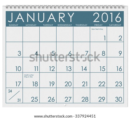 2016 Calendar: Month Of January With Holidays - stock photo
