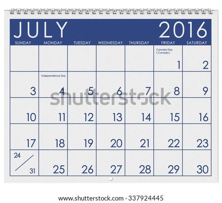 2016 Calendar: Month Of July With Independence Day - stock photo