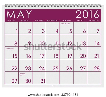 2016 Calendar: Month Of May With Memorial Day - stock photo