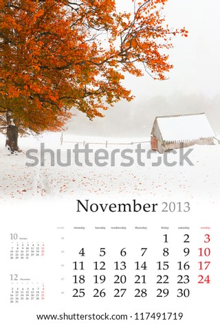 2013 Calendar. November. Beautiful autumn landscape in the mountains - stock photo