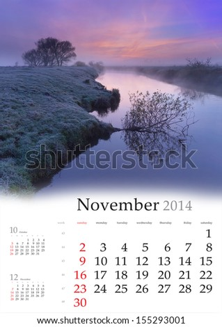 2014 Calendar. November. Beautiful autumn landscape on the river. - stock photo