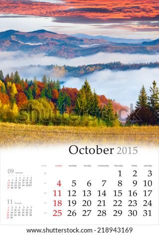 2015 Calendar. October. Colorful autumn landscape in mountains. - stock photo