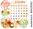2012 calendar october with zodiac signs and united states holidays - stock photo