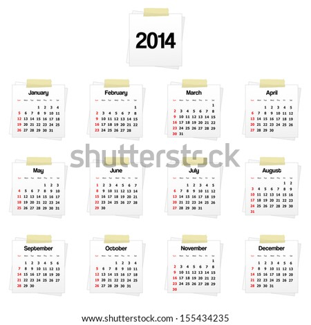 2014 calendar on reminders. Vector available. - stock photo