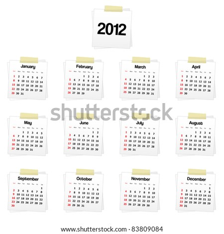 2012 calendar on reminders. Vector available. - stock photo