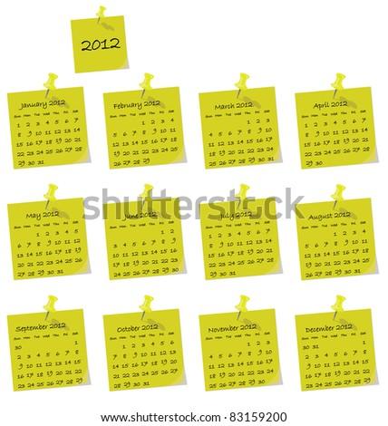 2012 calendar on yellow hand written memo pads - stock photo