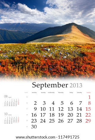 2013 Calendar. September. Beautiful autumn landscape in the mountains. - stock photo