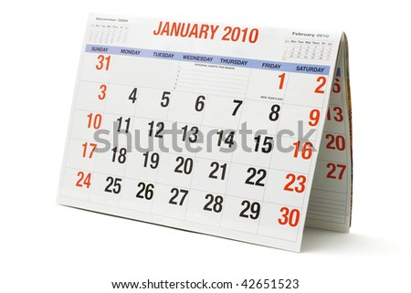2010 calendar showing January page on white background - stock photo