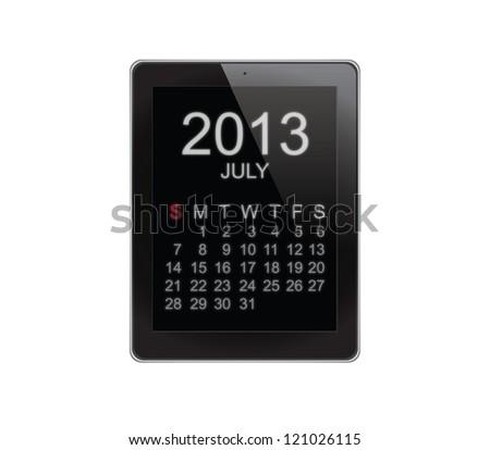2013 Calendar Tablet on white - stock photo