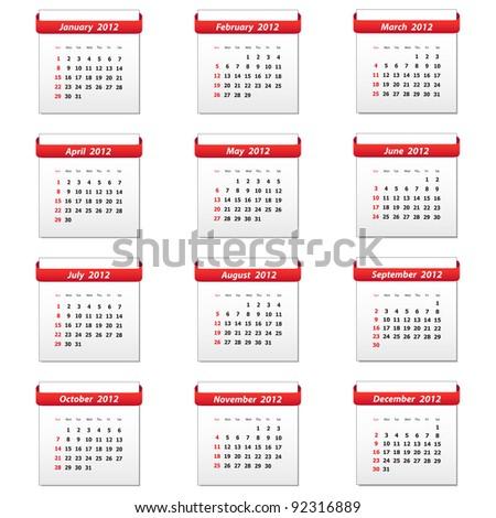 2012 calendar. Vector available. - stock photo