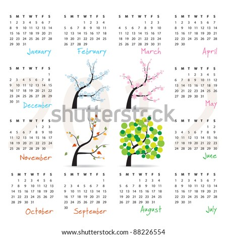 2012 calendar - week starts on Sunday - four seasons (trees in spring, summer, autumn and winter) - raster version of vector ID 87701515