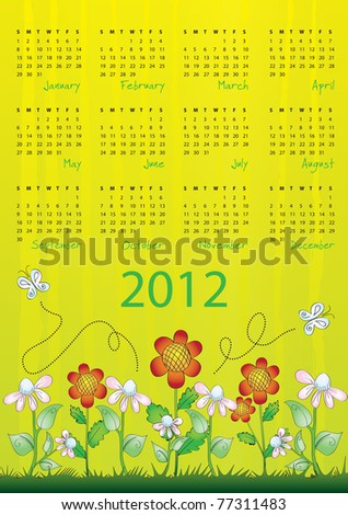 2012 calendar - week starts on Sunday - raster version of vector ID 77168782