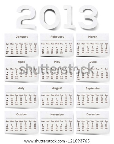 2013 Calendar White Texture Mulberry Paper. - stock photo