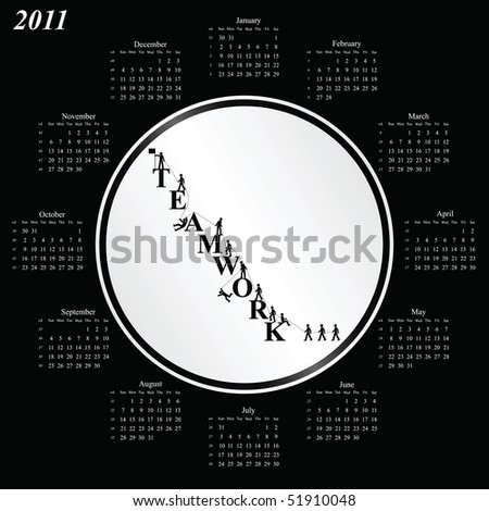 2011 calendar with an office teamwork theme - stock photo