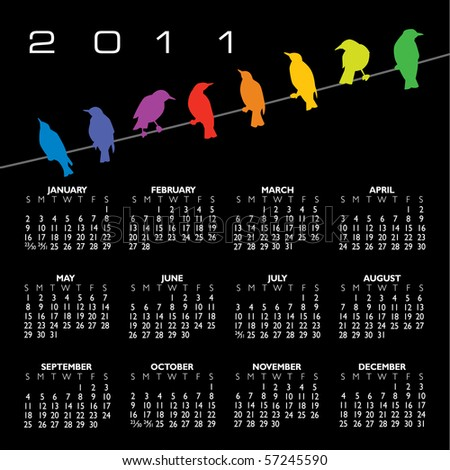 2011 calendar with birds and space for text - stock photo